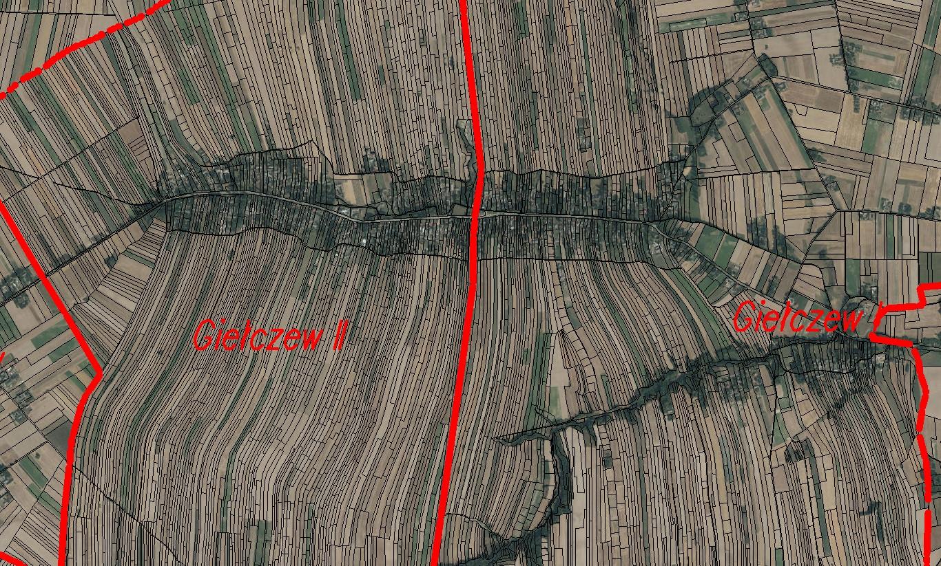 Rzut satelitarny działek we wsi Giełczew.
