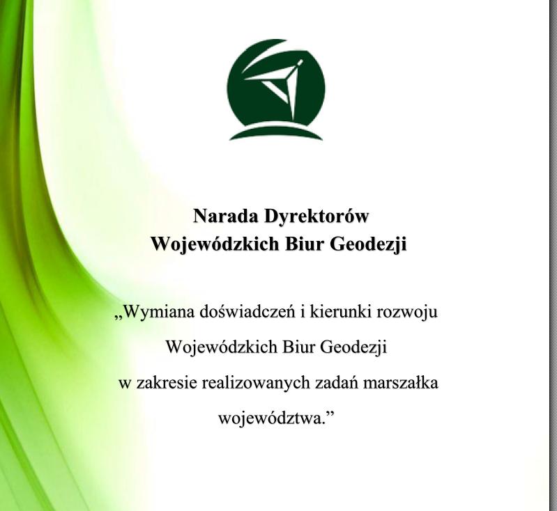 Broszura Narady Dyrektorów Wojewódzkich Biur Geodezji.