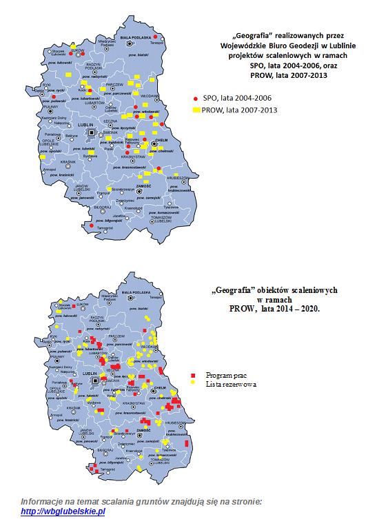 Geografia zrealizowanych przez WBG w Lublinie projektów scaleniowych