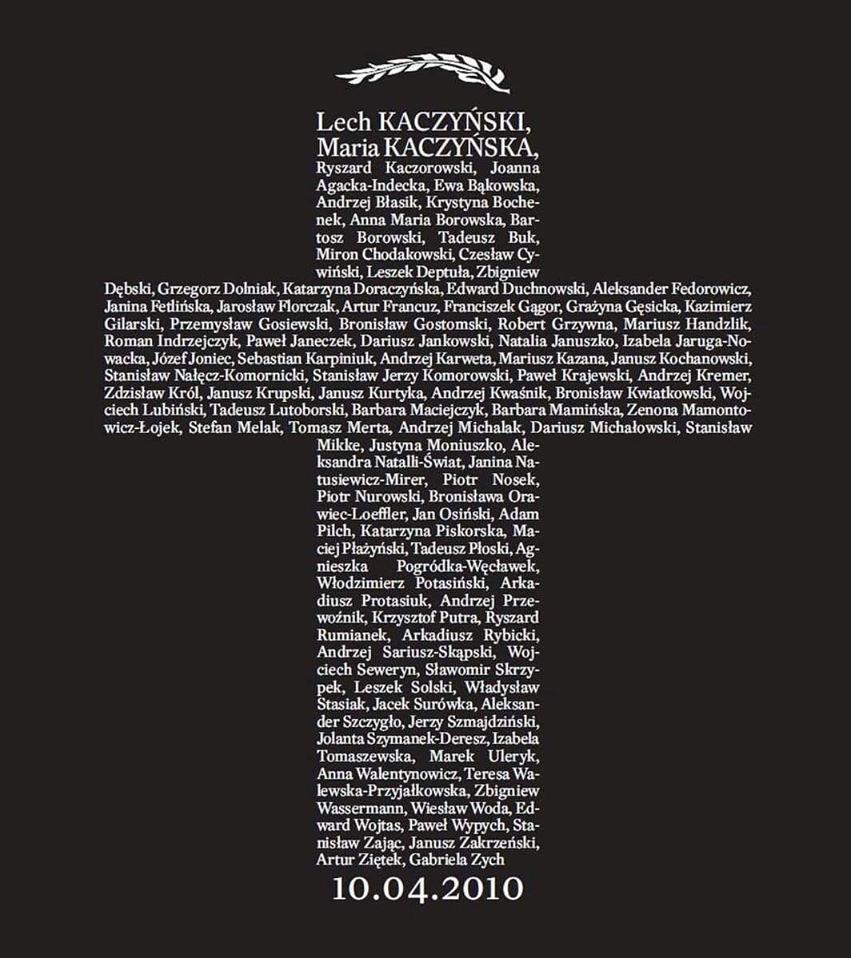 Krzyż upamiętniający tragedię 10.04.2020