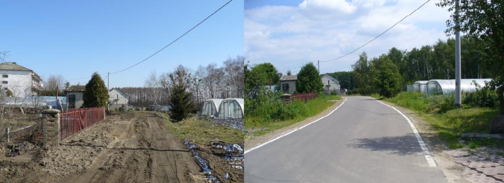 Zdjęcie drogi gminnej przed i po modernizacji