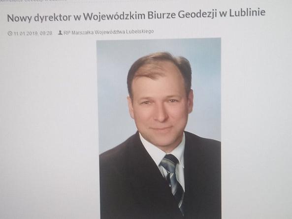 Nowy Dyrektor w Wojewódzkim Biurze Geodezji w Lublinie, Pan Marek Banach