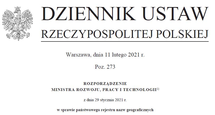 Dziennik Ustaw rozporządzenie Ministra Rozwoju, Pracy i Technologii z dnia 29 stycznia 2021 r. w sprawie państwowego rejestru nazw geograficznych