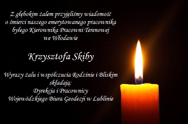Grafika z informacją o śmierci Krzysztofa Skiby