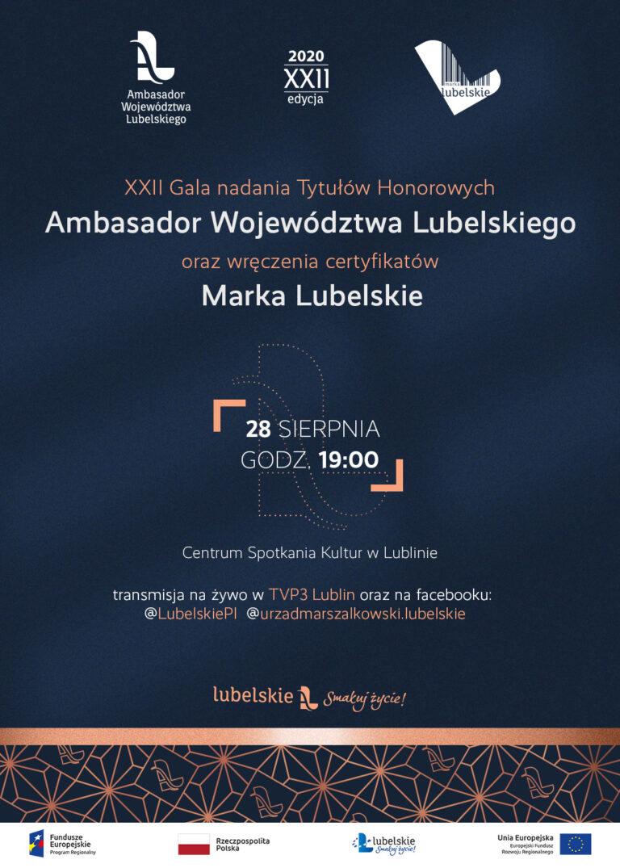 XII Gala nadania Tytułów Honorowych Ambasador Województwa Lubelskiego oraz wręczenia certyfikatów Marka Lubelskie