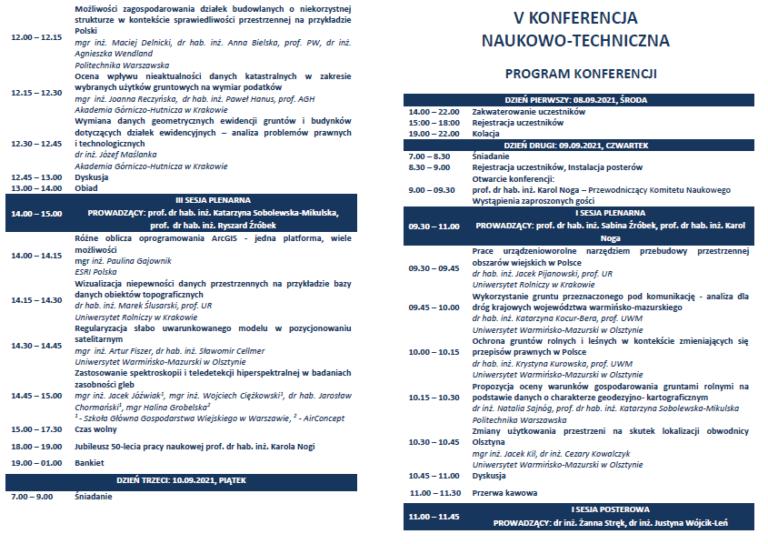 """V Konferencja Naukowo-Techniczna: """"Innowacje w geodezji i kartografii, gospodarce nieruchomościami oraz ochronie wód powierzchniowych"""